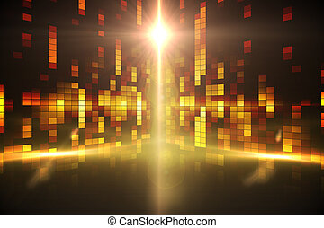 Digitally generated disco background in yellow
