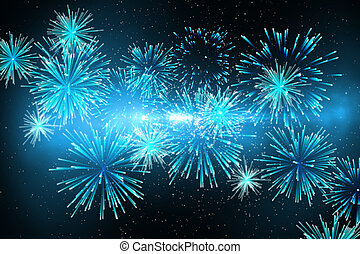 Digitally generated firework design in blue