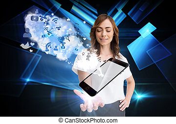 Digital composite of smiling businesswoman showing app icons...