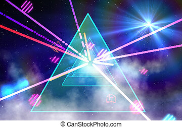 Digitally generated laser background in cool colours