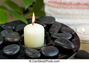 Time to relax - Pebbles towel and candle Time to relax