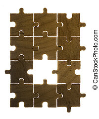 Wooden puzzle and backlight background Close up