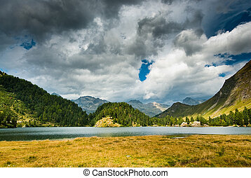 mountain lake near maloja - mountain lake newar maloja,...