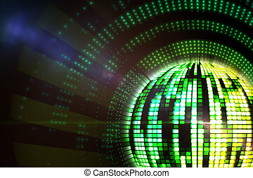 Digitally generated disco ball in green and yellow