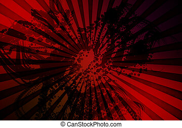 Digitally generated red background with dark splashes