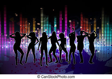 Digitally generated nightlife background with people dancing
