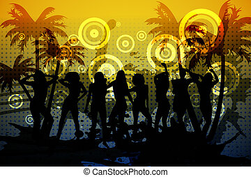 Digitally generated nightclub background on blue and yellow