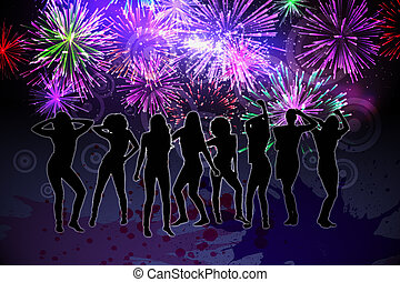 Digitally generated nightlife background with people dancing...