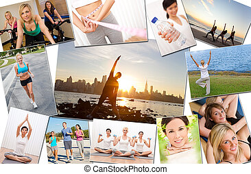 Healthy Men Women People Lifestyle and Exercise - Montage of...