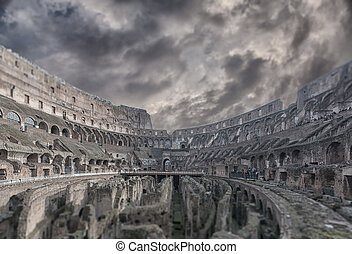 Rome Colosseum Interior Tilt Shift - A tilt shift view of...