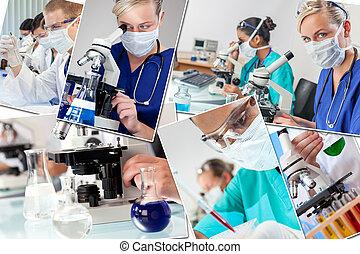 &, fotomontaggio, scienza, medico, ricerca, infermiere, dottori