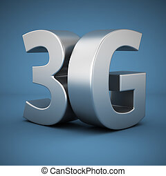 3G on blue - Big metal letters 3G on blue background