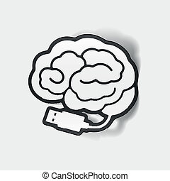 realistic design element: brain-usb, plug Vector...