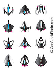 Different spaceships in flight - vector illustration