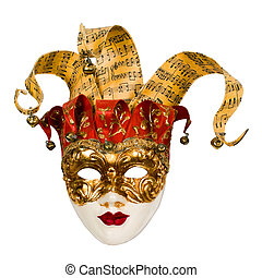 carnival venetian mask with bells isolated over white with...