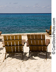 Pair of Chairs on Beach Resort in Mexico