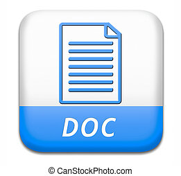 document - doc button pdf file download or document