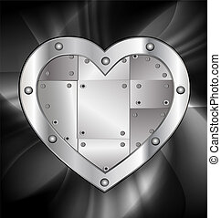 large metal heart - dark background and a big metal heart