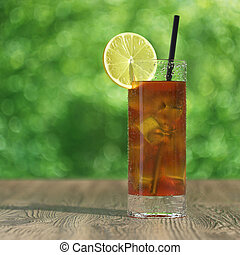 Iced tea - Very high resolution 3d rendering of a glass of...