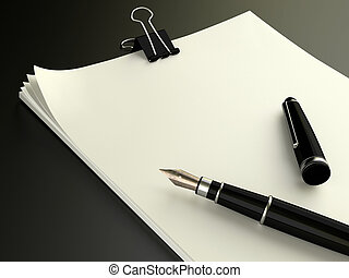 Blank note papers with fountain pen - Very high rution 3d...