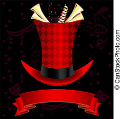 top-hat and fanfare - dark background, magic top-hat and...