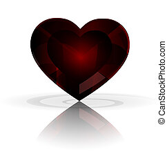 dark heart-crystal - white background and big dark red...