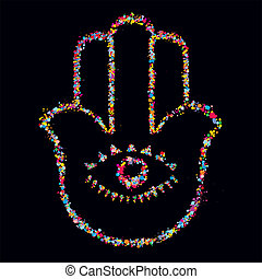 Grunge stylized colorful Hamsa on black background - vector...