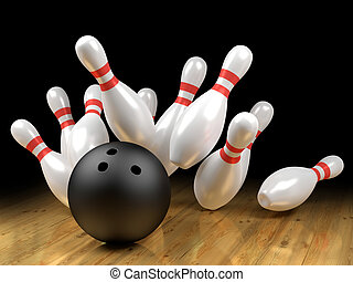 Strike! - Bowling pins and ball