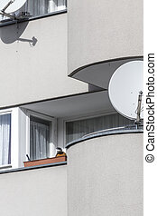 sparse balcony with satellite dishes shoot in berlin germany