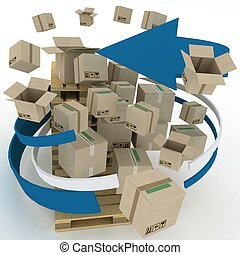 Cardboard boxes around pallets. Shipping concept