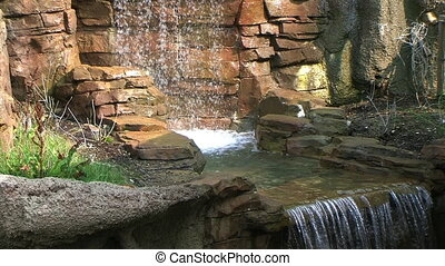 Stone Waterfall - Small ornamental waterfall made of stone -...