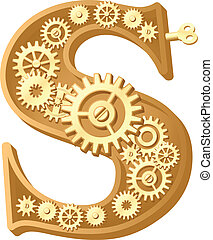 Mechanical alphabet made from gears. Letter s