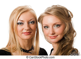 similar blonde sisters isolated - similarblonde sisters...