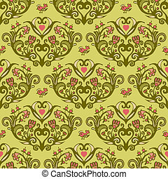 Spring bird flower heart seamless vector pattern