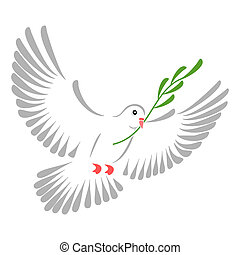 White dove - High resolution illustration of a stylized...