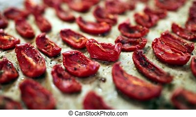 dried tomatoes with olive oil and spices sequence
