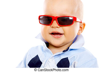 Baby Boy - Portrait of sweet little baby boy with sunglasses