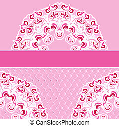Pink vector border lace frame background