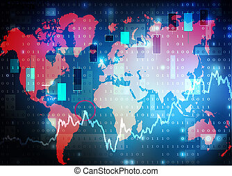 world map stock market background