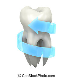 Protected tooth - Very high resolution 3d rendering of a...
