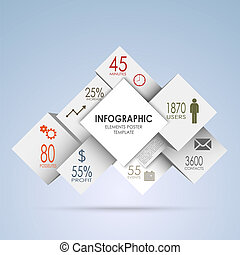 Abstract squares and white cubes info graphic vector eps 10