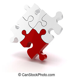 3d colorful puzzle piece on white background