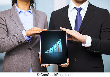 businessman and businesswoman with tablet pc - business,...