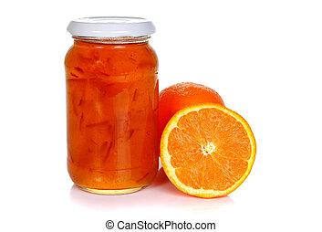 Jar of orange marmalade and oranges isolated on white...