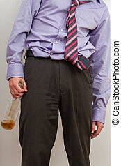 Businesmann alcoholic with empty bottle - Alcoholic wearing...