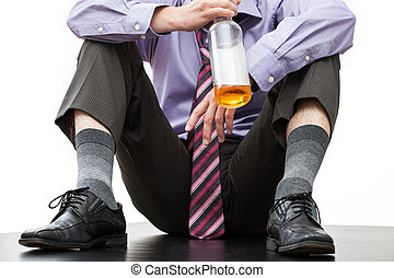 Fired employee with a bottle of rum - Fired employee of...