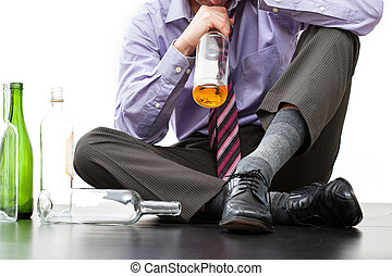 Drinking alone on the floor