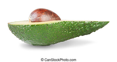 Half An Avocado IsolatedOn White Background
