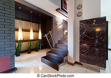 Corridor with stairs in modern interior - Corridor with...