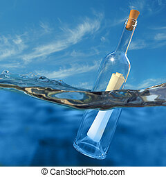 Message in a bottle - Very high resolution 3d rendering of a...